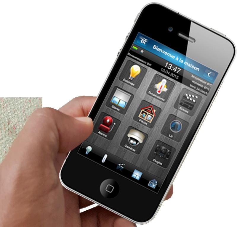 main téléphone application maison connectée